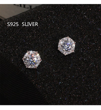 S925 Sterling Silver Color Simple Round Bling CZ Zircon Stone Stud Earrings Fashion Jewelry Korean Earrings for Women Girl cheap MyTryst None CN(Origin) Classic Cubic Zirconia Push-back