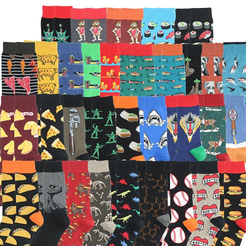 Happy Socks Fashion Hip Hop Skateboard Socks Cotton Cartoon Shark Pig Dog Food Hamburger Pizza Sushi Funny Men Women Calcetines