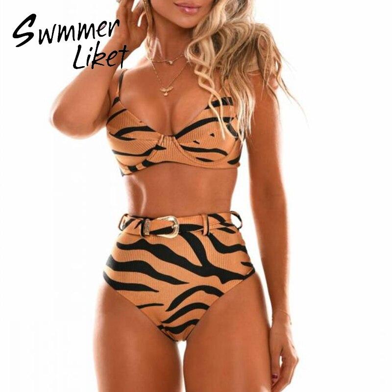 Sexy Animal Print Bikinis 2020 Mujer Triangle Push Up Swimsuit Female Belt Swimwear Women High Waist Bathing Suit Micro Bikini