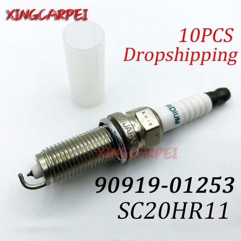 10pcs 90919-01253 SC20HR11 Spark Plug สำหรับโตโยต้า Yaris RAV 4 RAV4 AURIS Corolla Prius Verso 90919 01253 SC20HR11 9091901253