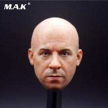 1/6 Scale Male Figure Accessory Man Head Sculpt Driver Macho Mr.Vin Diesel Head Craved Bald Model for 12'' Strong Action Figure