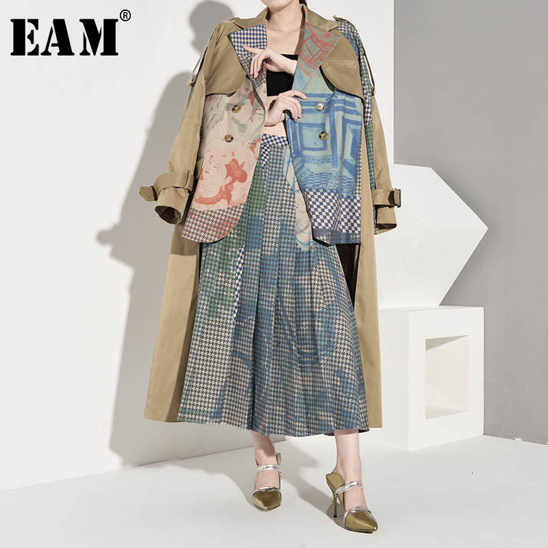 [EAM] Women Asymmetrical Big Size Print Trench New Lapel Long Sleeve Loose Fit Windbreaker Fashion Spring Autumn 2020 1B7390
