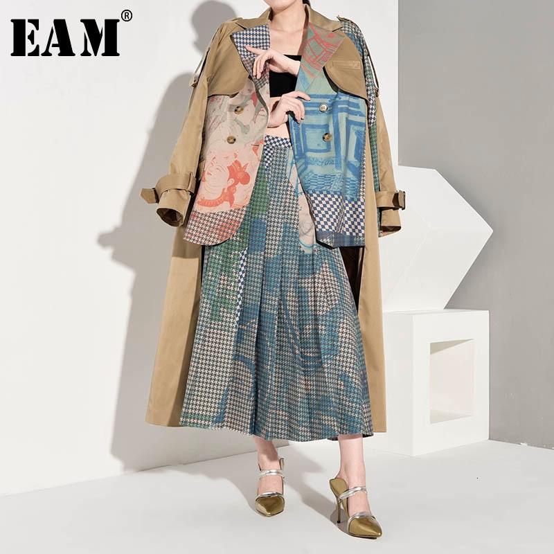 [EAM] Women Asymmetrical Big Size Print Trench New Lapel Long Sleeve Loose Fit Windbreaker Fashion Spring Autumn 2020 1B7390