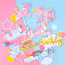 Glitter Happy Birthday Cake Topper Cute Rainbow Cupcake Toppers Baby Shower Kids Decor Xmas Party Supplie