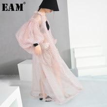 Eam] 2021春夏新作v-カラーロングランタンスリーブドットプリント視点ビッグサイズロングシャツ女性ブラウスファッションJF394