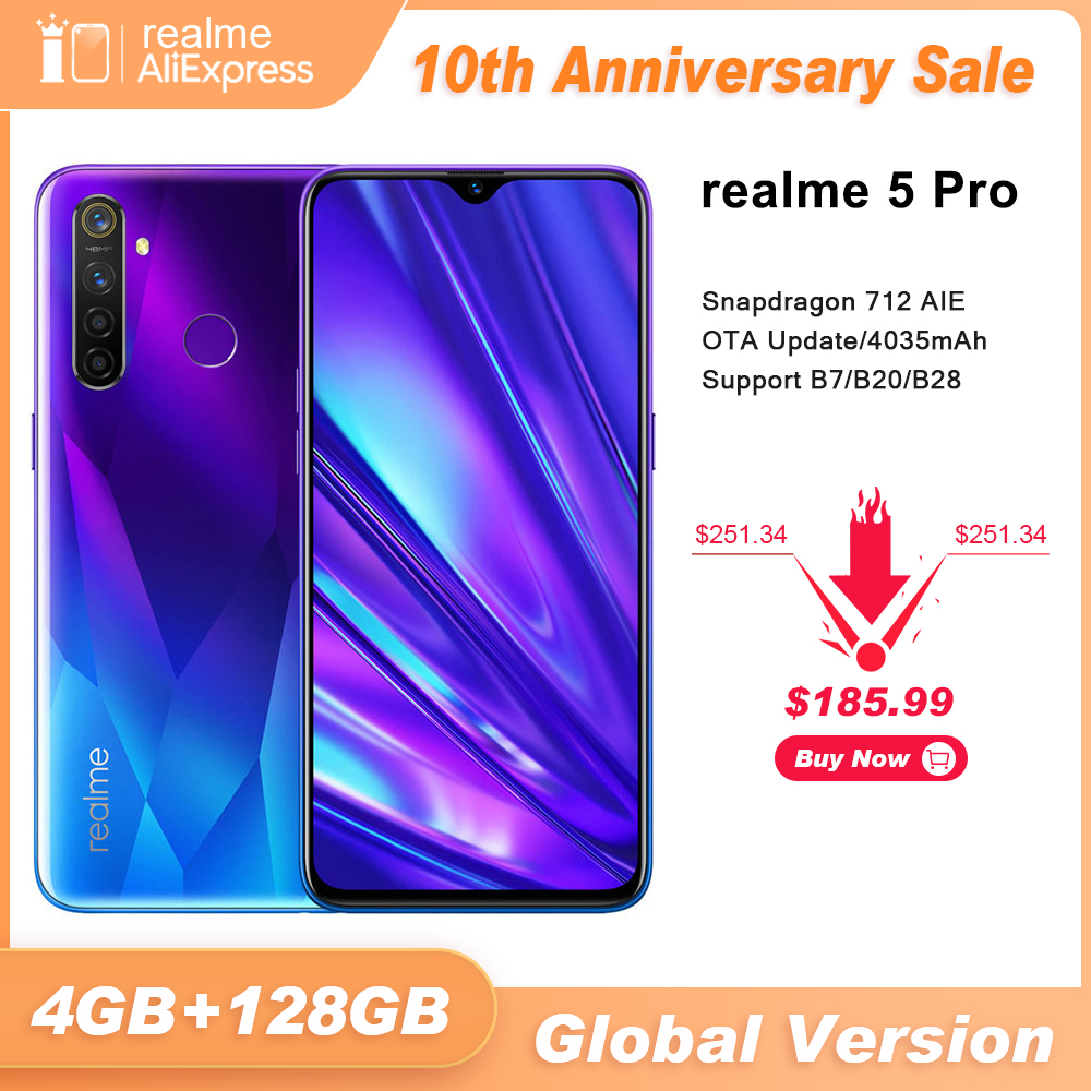 הגלובלי גרסה realme 5 פרו 4GB RAM 128GB נייד טלפון Snapdragon 712AIE 48MP Quad מצלמה Smartphone 4035mAh מטען מהיר title=