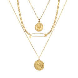 IPARAM Vintage Portrait Coin Geometry Pendant Necklace Bohemian Multilayer Gold Chain Collar Necklace Fashion Trend Jewelry