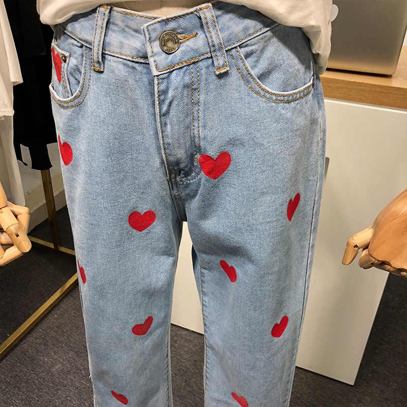 2019 ฤดูใบไม้ร่วงฤดูใบไม้ร่วงผู้หญิงใหม่กางเกงยีนส์กางเกง Heart พิมพ์สูงเอวตรงกางเกงยีนส์