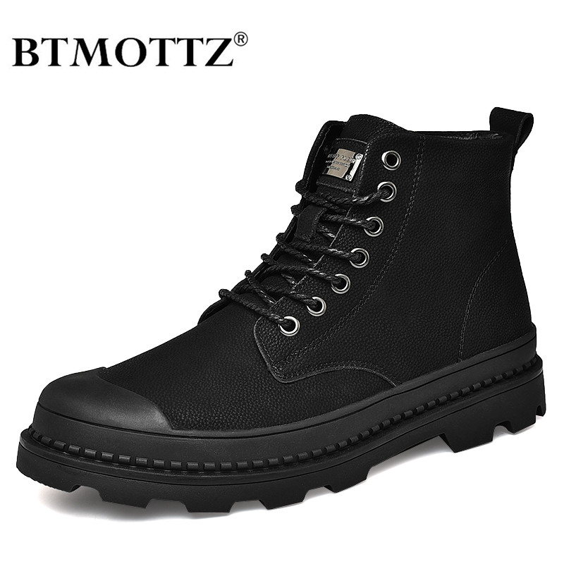 Warm Winter Men Boots Genuine Leather Ankle Boots Men Winter Work Shoes Men Military Army Fur Snow Boots For Men Botas BTMOTTZ