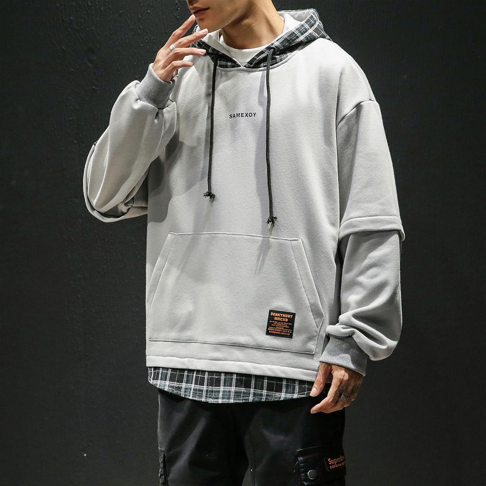 2020 Autumn Spring Patchwork Hoodies MEN'S Sweatshirts Hip Hop Punk Streetwear Casual Pullover