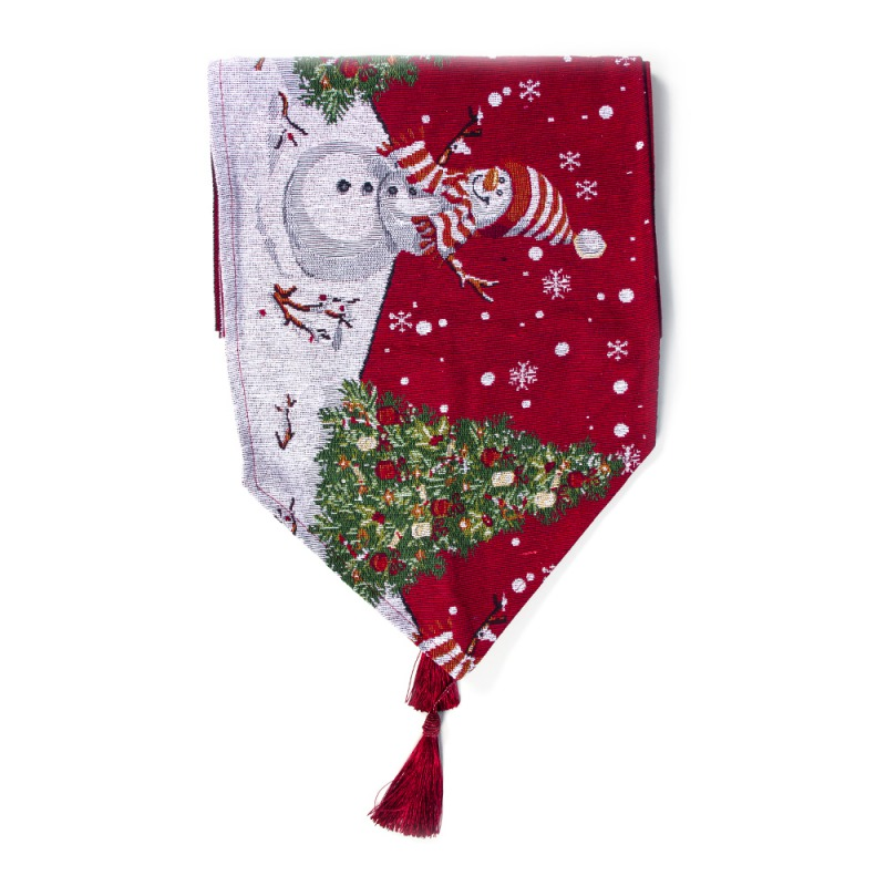 Christmas Table Runner Printed With Tassels Pendant Festive Holiday Dinning Desktop Decorations 1PC