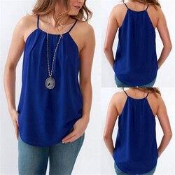 Sexy Tank Tops Blue Chiffon Cami Top Female T-shirt 2020 Summer Elegant Women Plain Baggy Sling Camisole Slim Cami Top Tanks