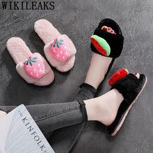winter cute slippers women slides casual plush house slippers shoes woman 2020 fashion ladies furry slides for women big size 42(China)