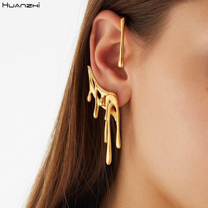 HUANZHI 2020 новые золотые металлические серьги-каффы с воском неправильной формы из лавовой металла серьги-кафффы без пирсинга в стиле панк для ...