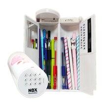 Caixa de lápis senha calculadora espelho apagável solar carregamento usb alta capacidade caneta caixas material escolar papelaria meninos meninas