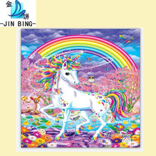 New diy diamonds full of Rainbow white horses Five-color diamond embroidery