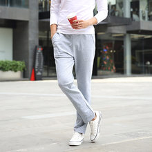 Spring New Style Casual Pants Men's Large Size Slim Fit Cotton Trousers Solid Color Knitted Black And White with Pattern Straigh(China)