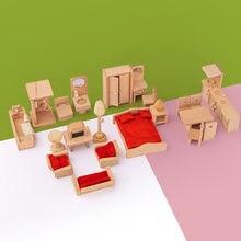 Montessori de madeira fingir jogar casa brinquedos educativos de madeira mini cozinha quarto conjunto brinquedos para crianças meninas decoração cena vida
