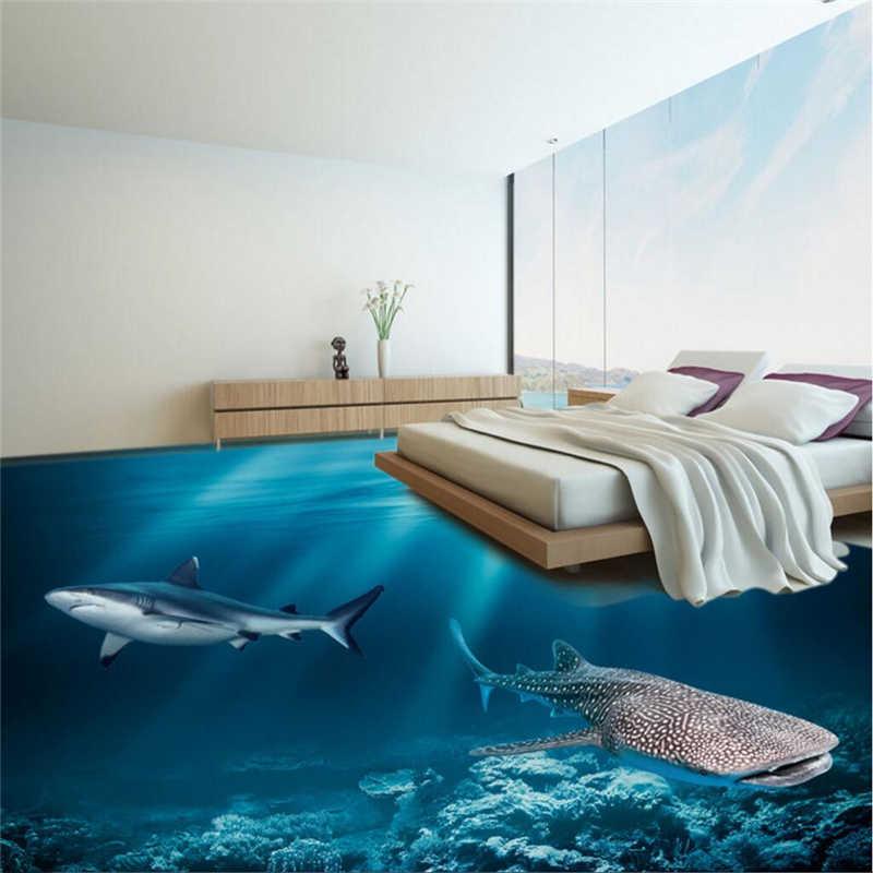 Wellyu пользовательские фото пол утолщение водонепроницаемый и износостойкий ПВХ пол краска 3D подводный мир пол украшения 3d Пол