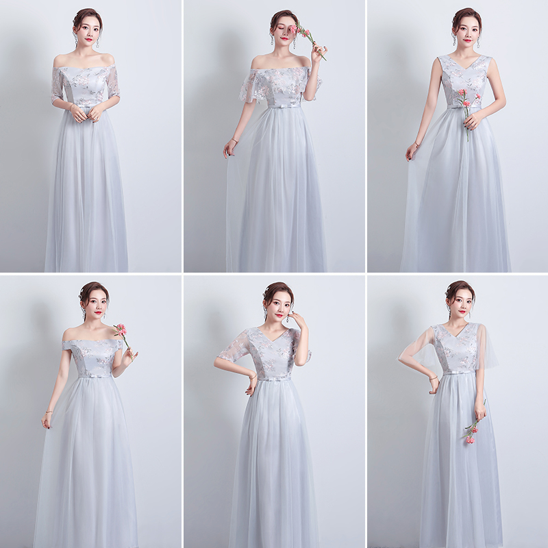 Off The Shoulder Burgundy Bridesmaid Dress Gray Elegant A-Line Wedding Guest Dress Sexy Prom Vestidos Mujer Wedding Party Dress