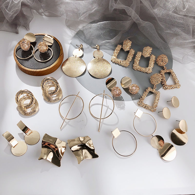 2020 Statement  Fashion Earrings For Women  Geometric Metal Female Dangle Earrings Trendy Jewelry Accessories