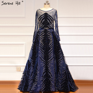 Image 5 - Muslim Luxury Navy Blue Evening Dresses 2020 Long Sleeves  Mermaid Dress With Skirt Sexy Formal Dress Serene Hill LA60914