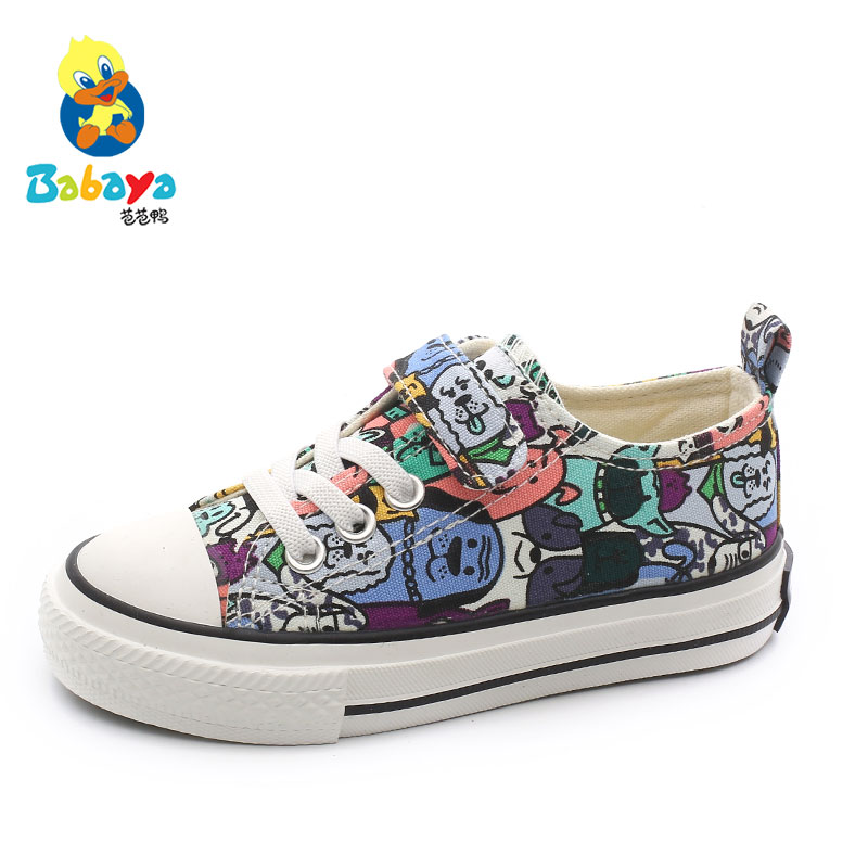 Babaya Children Canvas Shoes Boys Sneaker Breathable 2020 Spring New Cartoon Graffiti Girls Shoes Fashion Kids Sneakers For Girl
