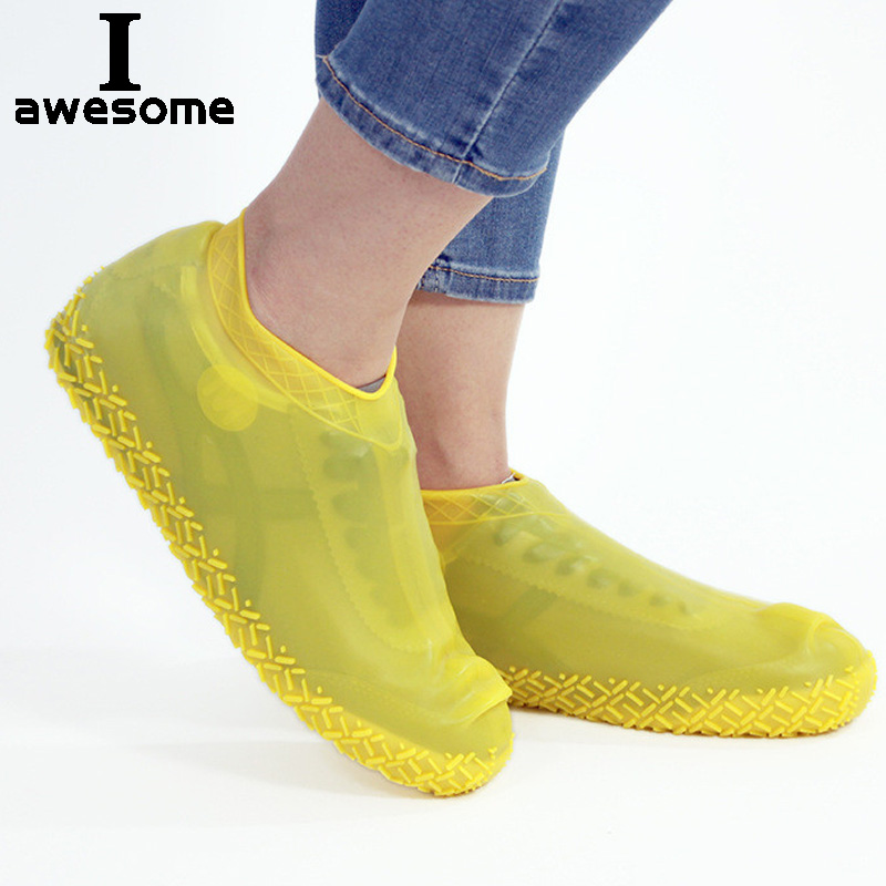 Silicone Overshoes Reusable Waterproof Rainproof Men Shoes Covers Rain Boots Non-slip Washable Unisex Wear-Resistant Recyclable
