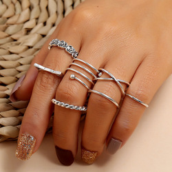 Yobest 7 Pcs/set Bohemian Beach Retro Simple Hollow Wave Geometry Ring Set Women Charm Jewelry Accessories
