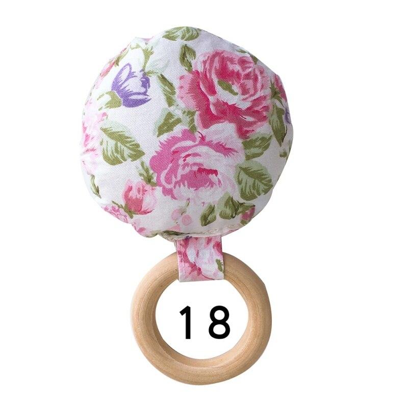 Портативный для новорожденных Детское Зубное кольцо жевательные Прорезыватель для зубов ручной безопасная, из дерева натуральное кольцо молочных зубах упражняющая игрушка в подарок - Цвет: R