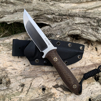 D2 Steel TUNAFIRE new fixed knife high-end Micarta handle field hunting self-defense tactical knife with Kydex Sheath 1