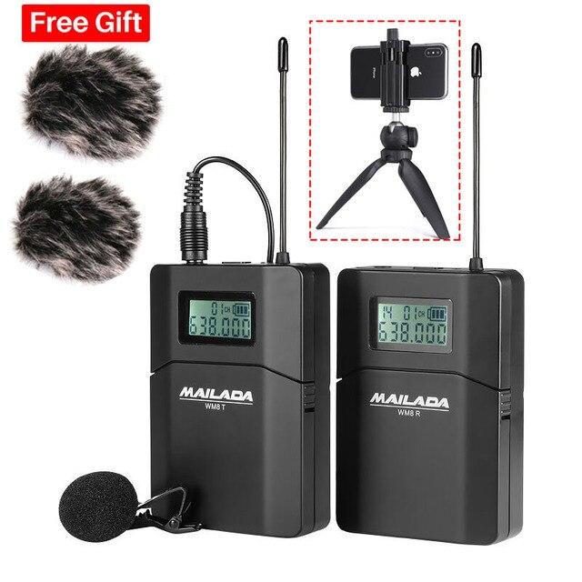 Mailada WM8 Professionelle UHF Wireless Mikrofon System Video Aufnahme Lavalier Revers Mic für iPhone DSLR Recorder Interview