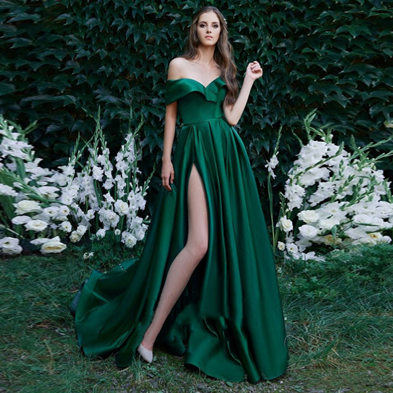 Dark Green Pleat Prom Party Evening Dresses Vestido De Noiva Sereia Gown Robe De Soiree Slit Sexy Party Simple Satin Lace-up