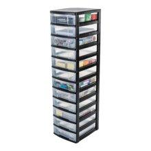 Schubladenschrank auf Rollen / Rollcontainer - New Chest NMC-012 - plastik, schwarz, 12 x 6 L, L30 x B38 x H120 cm