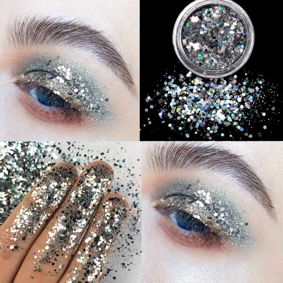 Fashion 12 Warna Perak Glitter Matte Eyeshadow Palet Makeup Glitter Pigmen Smoky Eyeshadow Palet Tahan Air Kosmetik 1 Pc
