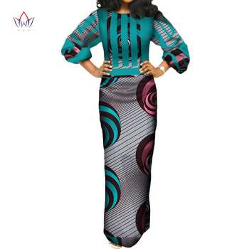 2020 BRW Summer African Cotton Dresses For Women O-neck Long Dress Bazin Riche Maxi Dress Long Sleeve Dress Pius Size WY3387