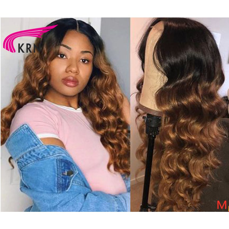 "KRN Wavy 13x6 Lace Front Middle Ratio 8""-26"" Remy Human Hair Wigs Ombre Color 180 Density Middle Part With Baby Hair"