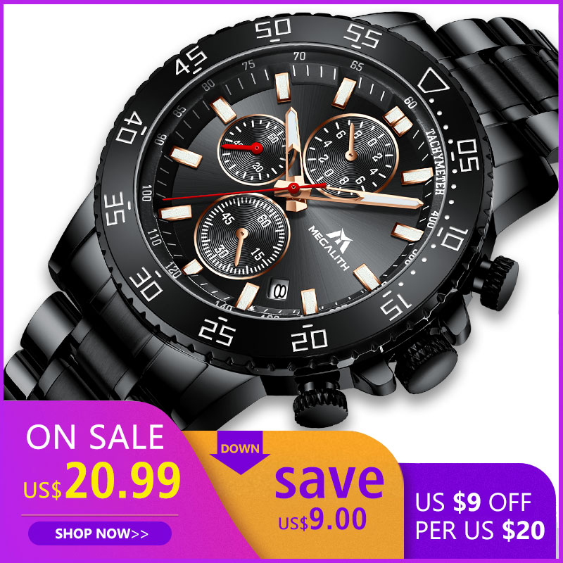 Relogio Masculino MEGALITH Sport Waterproof Analogue Watch Men Fashion Quartz Wristwatch Gents Luminous Chronograph Clock 8087M