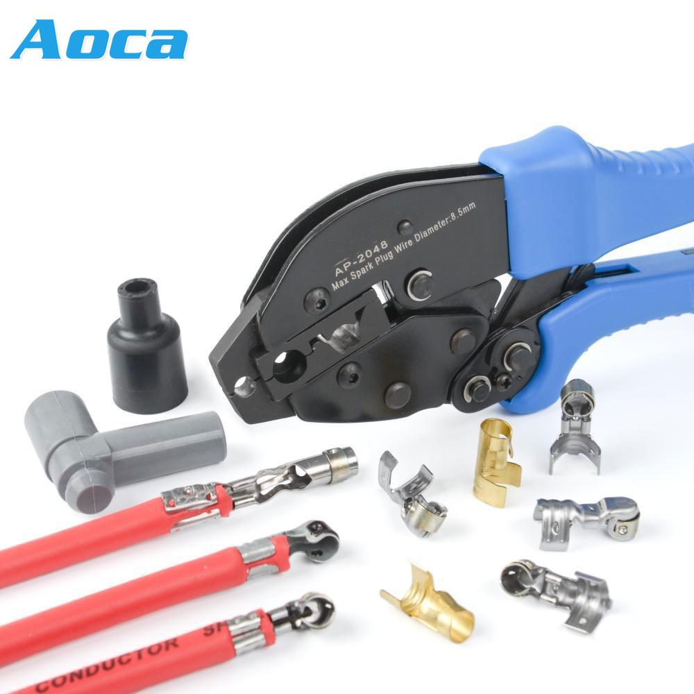 AP-2048 Spark Plug Connector Wire Presser Ignition Terminal Wire Clamp Burner Copper Head Accessories Wire Crimpling Pliers