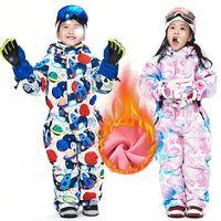 Children Winter Ski Suit Waterproof Windproof Fleece Warm Coat Overalls Kids Snowboard Jacket For Boys Girls 90 130 Jumpsuit