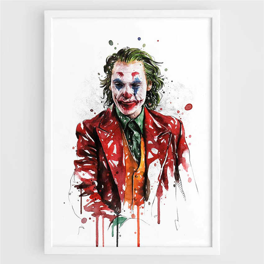 2019 Joker movie watercolor art deco bar cafe Home Decor Nursery Kids Room Painting posters Art Decor canvas painting K575