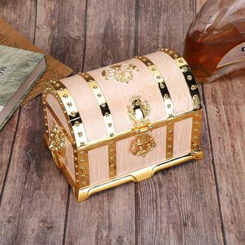 Vintage Embossment Necklace Storage Earring Container Box Jewelry Holder with Lock Home Decoration Wedding Gifts