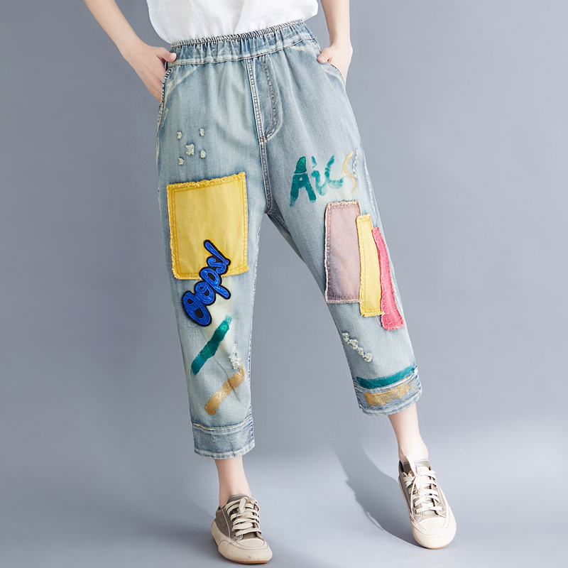 2020 Women Summer Fashion Korea Style Vintage Patchwork Calf Length Elastic Waist Jeans Office Lady Casual Oversized Denim Pants