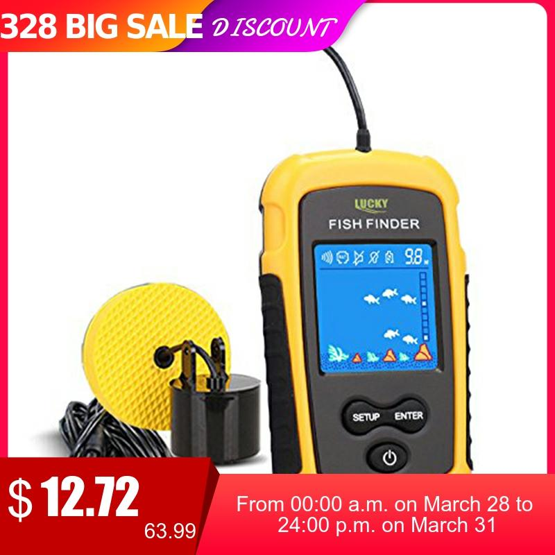 LUCKY Handheld Fish Finder Portable Fishing Kayak Fishfinder Fish Depth Finder Fishing Gear with Sonar Transducer and DisplayPor 1