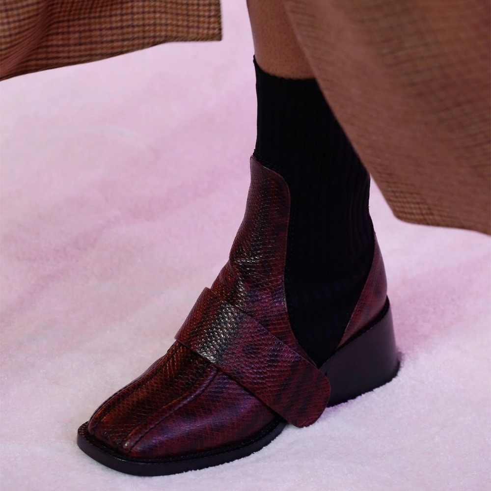 Kadın yarım çizmeler hakiki deri Patchwork çorap ayakkabı kadın yüksek topuk yılan deri streç elastik kısa çizmeler bayanlar için 2020