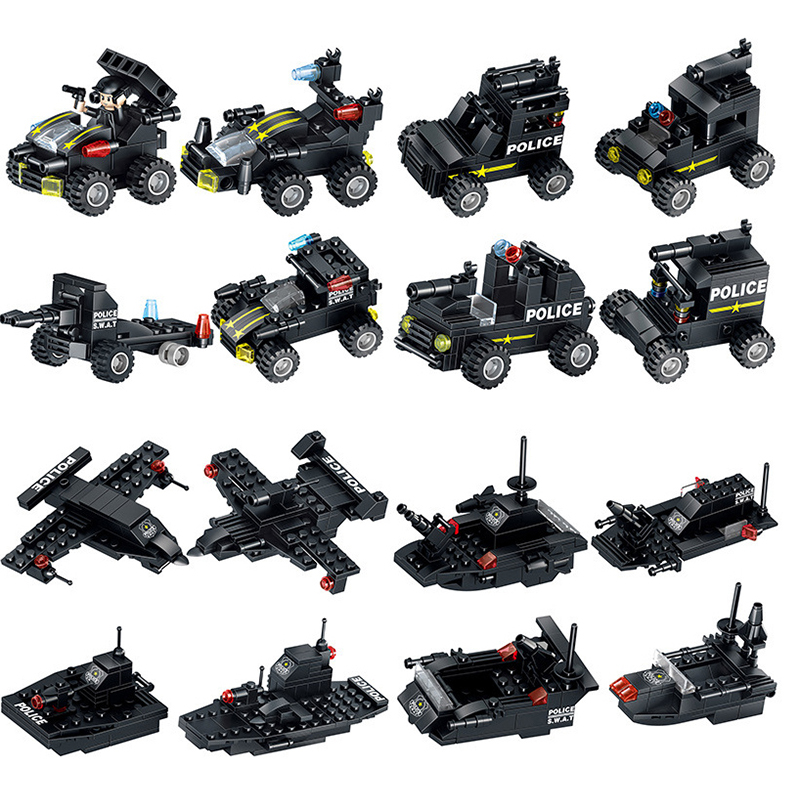 820 PCS City Police Building Blocks Robot Toys For Boys Vehicle Aircraft Educational Truck Blocks Compatible LegoINGlys Bricks
