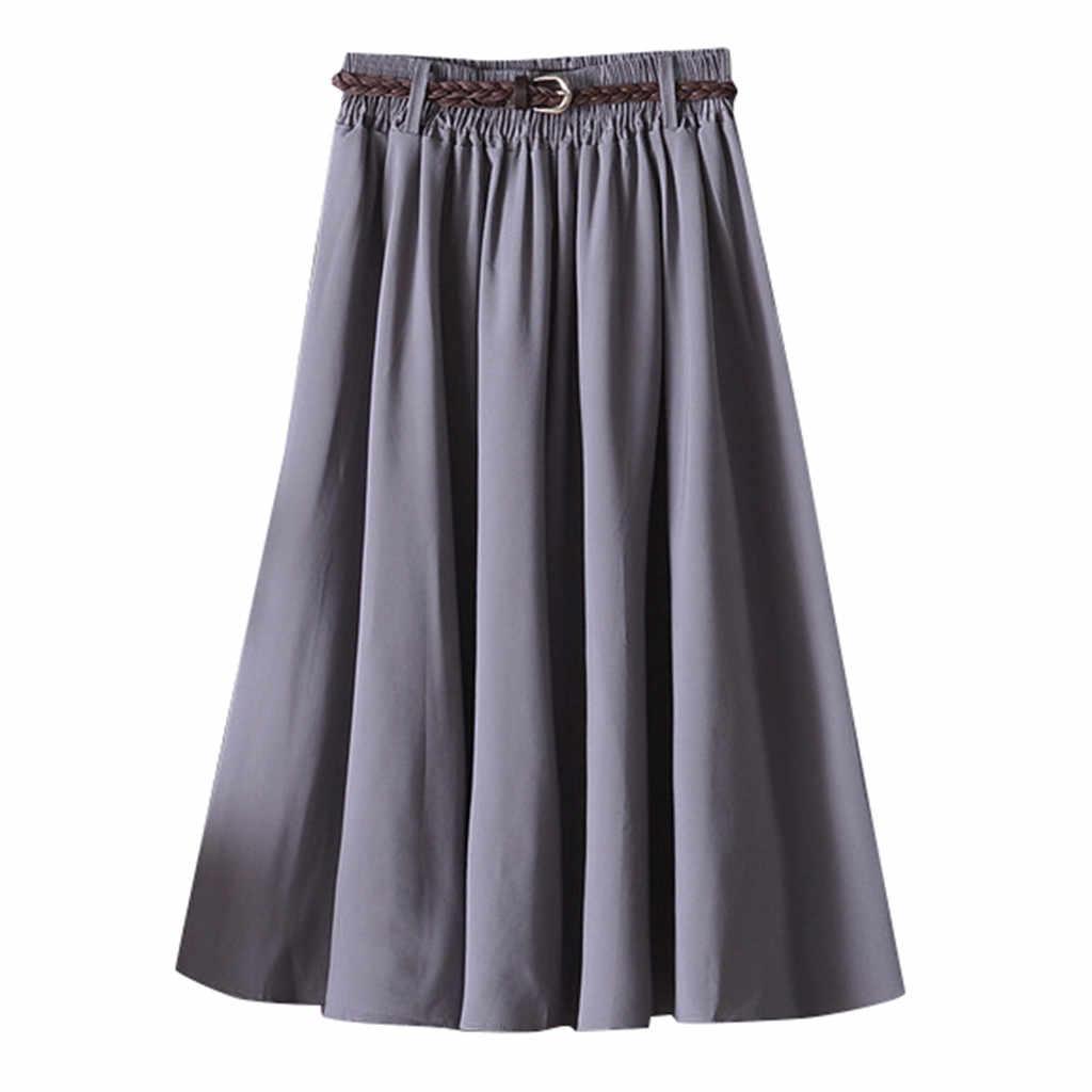 38 # rok Vrouwelijke 2020 Vrouwen Eenvoudige Mode Toevallige Knie Lange Zomer Rok Vrouwelijke Met Riem A-lijn Retro School Rok