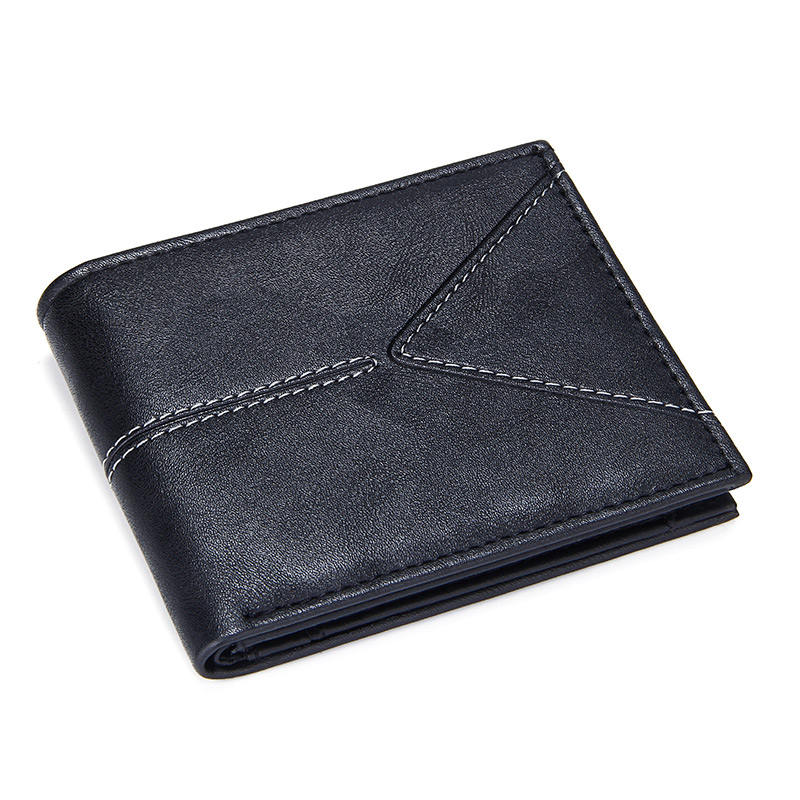 Luxury Brand Men's Short Bifold Wallets Slim Credit Card Holder Male Casual Billfold With Coin Pocket Pu Leather Solid Money Bag