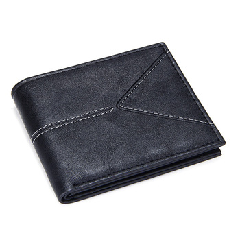 Luxury Brand Men's Short Bifold Wallets Slim Credit Card Holder Male Casual Billfold with Coin Pocket Pu Leather Solid Money Bag фото
