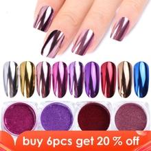 0.5G Nail Spiegel Glitter Poeder Metallic Kleur Nail Art Gel Polijsten Chrome Vlokken Pigment Dust Decoraties Manicure Trc/ASX 1